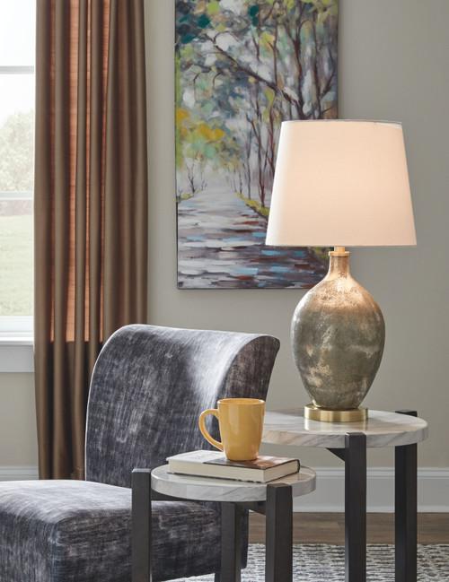 Jemarie Gray/Gold Finish Glass Table Lamp (1/CN)