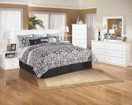 Bostwick Shoals White 4 Pc. Dresser, Mirror, Chest & King Panel Headboard
