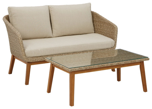 Crystal Cave Beige Loveseat w/Table (2/CN)