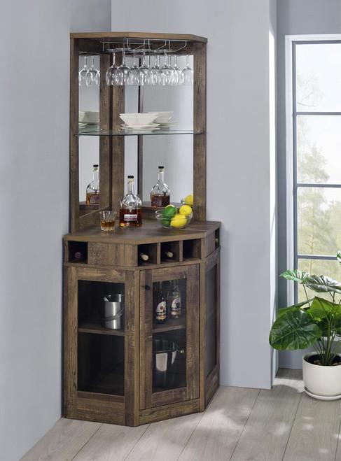 Corner Bar Cabinet With Stemware Rack Rustic Oak (182303)