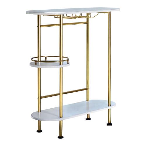 3-tier Bar Unit Matte Brass And White Oak (182528)