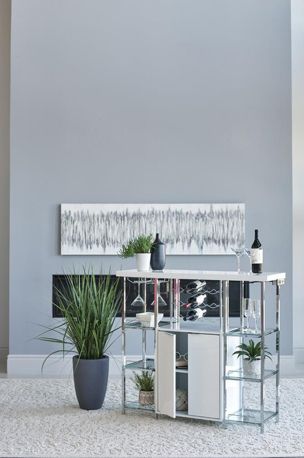 2-door Bar Cabinet With Glass Shelf High Glossy White And Chrome (182757)