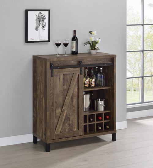 Bar Cabinet With Sliding Door Rustic Oak (182852)