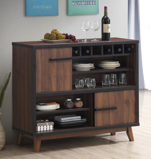 Rec Room | Bar Units - Wine Cabinet With 2 Sliding Doors Walnut And Black (182873)