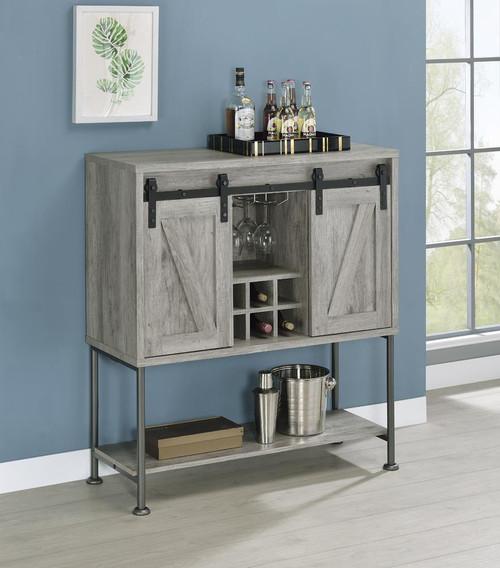 Sliding Door Bar Cabinet With Lower Shelf Grey Driftwood (183038)