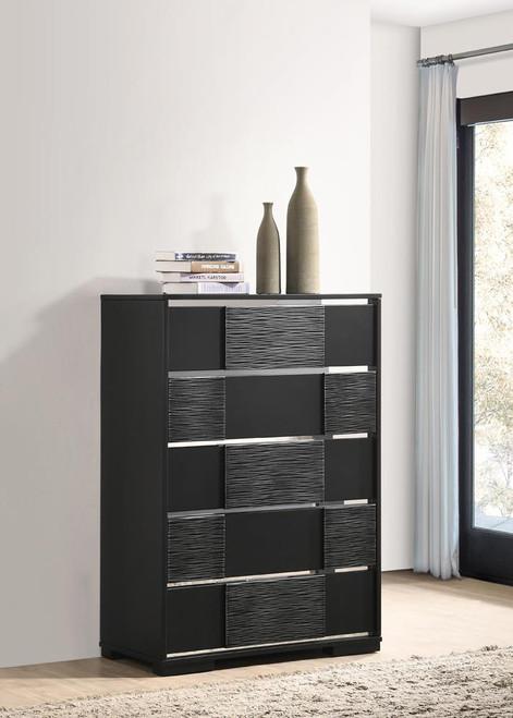 Blacktoft Collection - Blacktoft 5-drawer Chest Black (207105)