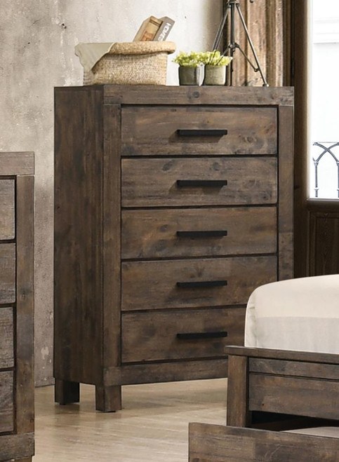 Woodmont Collection - Woodmont 5-drawer Chest Rustic Golden Brown (222635)