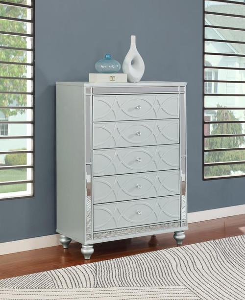 Gunnison Collection - Gunnison 5-drawer Chest Silver Metallic (223215)