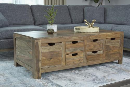 Persia 6-drawer Storage Coffee Table Natural Sheesham (723888)