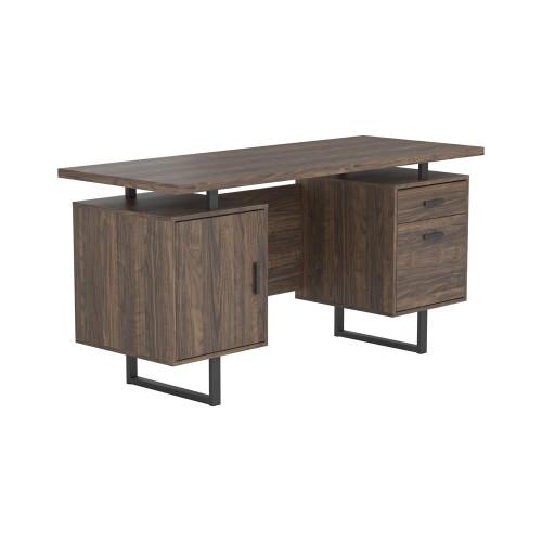 Lawtey Floating Top Office Desk Aged Walnut (802521)