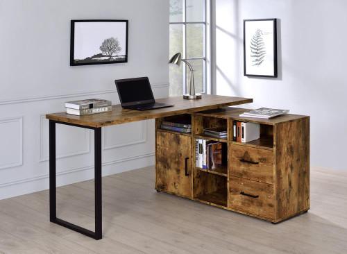Hertford L-shape Office Desk With Storage Antique Nutmeg (804464)