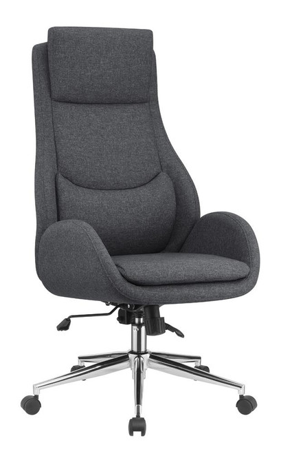 Grey - Upholstered Office Chair With Padded Seat Grey And Chrome (881150)