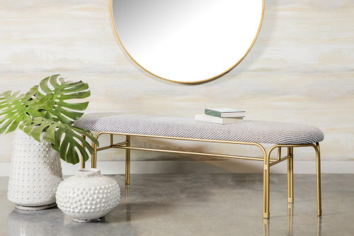 Grey - Upholstered Accent Bench With Metal Leg Grey And Gold (910271)