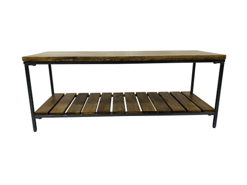 Accent Bench With Slat Shelf Natural And Gunmetal (914127)