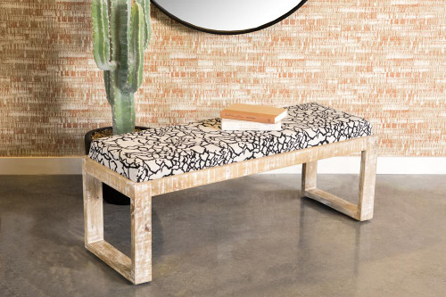 Accent : Benches & Ottomans - White - Sled Leg Upholstered Accent Bench Black And White (914138)