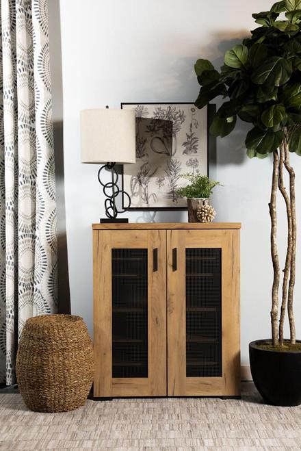 Metal Mesh Door Accent Cabinet Golden Oak (951107)