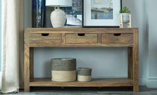 Persia 3-drawer Storage Console Table Natural Sheesham (952853)