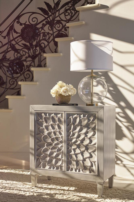 Accent Cabinet With Floral Carved Door White (953347)