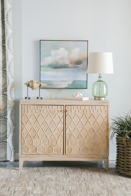 2-door Geometric Accent Cabinet White Distressed (953408)