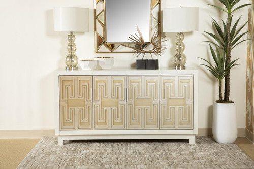 Rectangular 4-door Accent Cabinet White And Gold (953416)