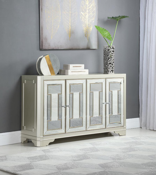4-door Accent Cabinet Smoke And Champagne (953487)