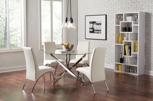 Beckham Collection - Beckham 5-piece Round Dining Set Chrome And White (106440-S5)