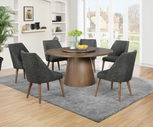 Beverly Collection - Beverly 5-piece Round Dining Set Dark Cocoa And Dark Grey (109530-S5)