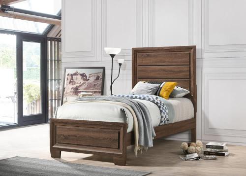 Brandon Bedroom Collection - Brandon Twin Panel Bed Medium Warm Brown (205321T)