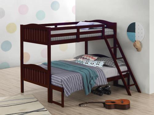 Littleton Bunk Bed - Littleton Twin/full Bunk Bed With Ladder Espresso (405054BRN)