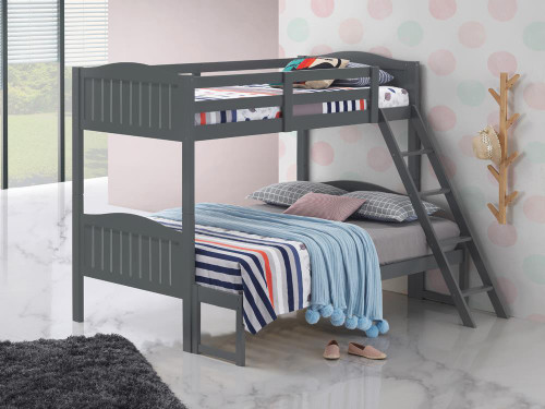 Littleton Bunk Bed - Littleton Twin/full Bunk Bed With Ladder Grey (405054GRY)