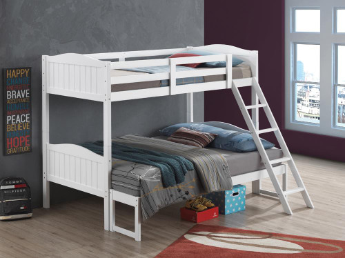 Littleton Bunk Bed - Littleton Twin/full Bunk Bed With Ladder White (405054WHT)