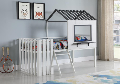 Timber House-designed Twin Loft Bed White And Gunmetal (409464T)
