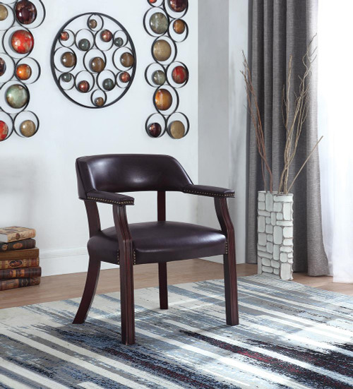 Home Office : Chairs - Brown - Office Chair With Nailhead Trim Brown (413BRN)