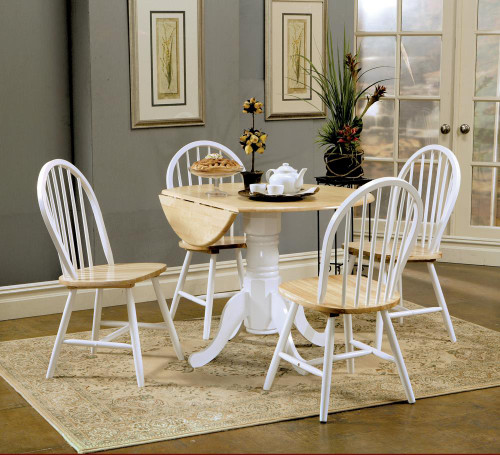 5-piece Drop Leaf Dining Set Natural Brown And White (4241-S5)