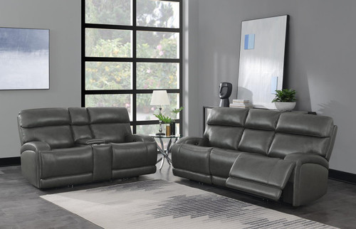 Charcoal - Longport 2-piece Upholstered Power Living Room Set Charcoal (610484P-S2)