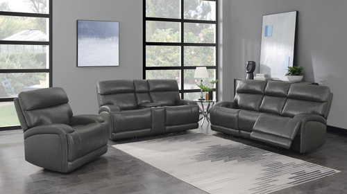 Charcoal - Longport 3-piece Upholstered Power Living Room Set Charcoal (610484P-S3)