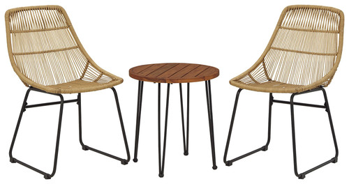 Coral Sand Light Brown/Black Chairs w/Table Set (3/CN)