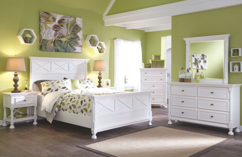 Kaslyn White Queen Panel Bed