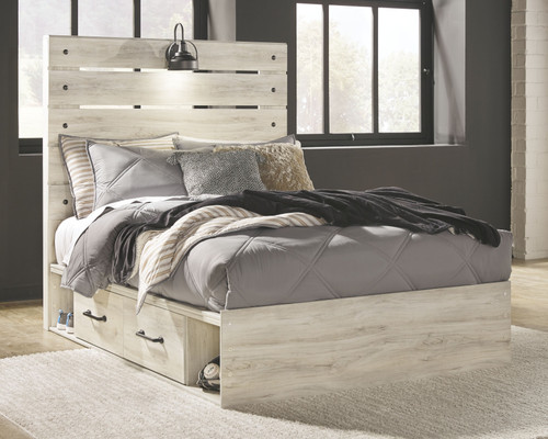 Cambeck Whitewash Full Panel Bed with 2 Storages