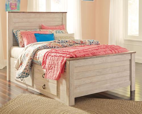 Willowton Whitewash Full Panel Bed with Storage