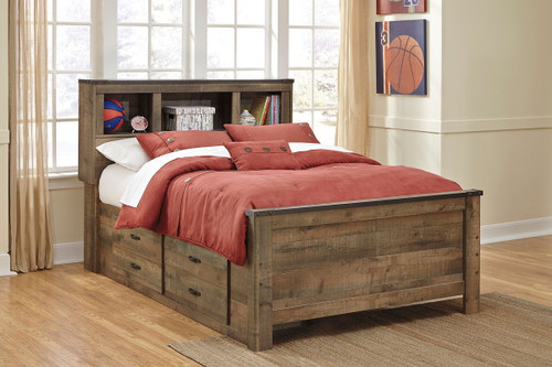 Trinell Brown Full Bookcase Bed with Under Bed Storage