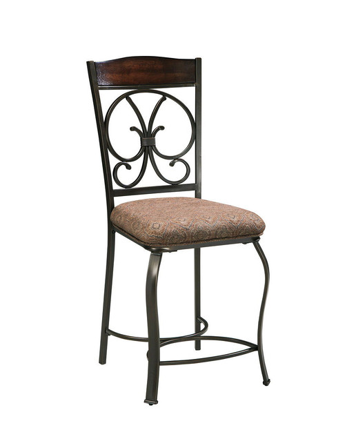 Glambrey Brown Upholstered Barstool (Set of 4)
