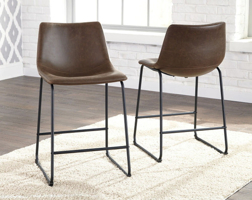 Centiar Brown Upholstered Barstool (Set of 2)