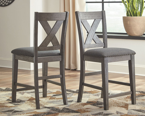 Caitbrook Gray Upholstered Barstool (Set of 2)