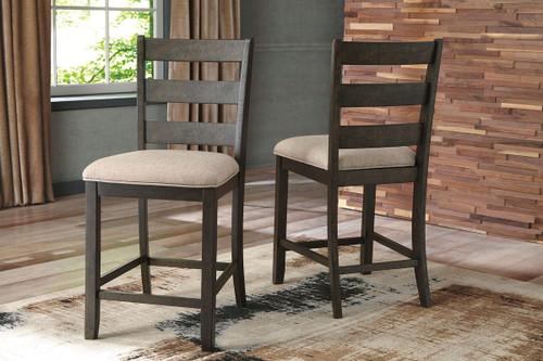 Rokane Light Brown Upholstered Barstool (Set of 2)