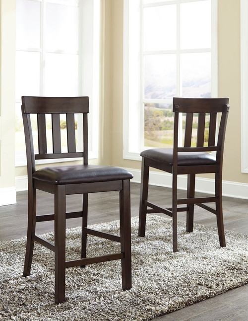 Haddigan Dark Brown Upholstered Barstool (Set of 2)