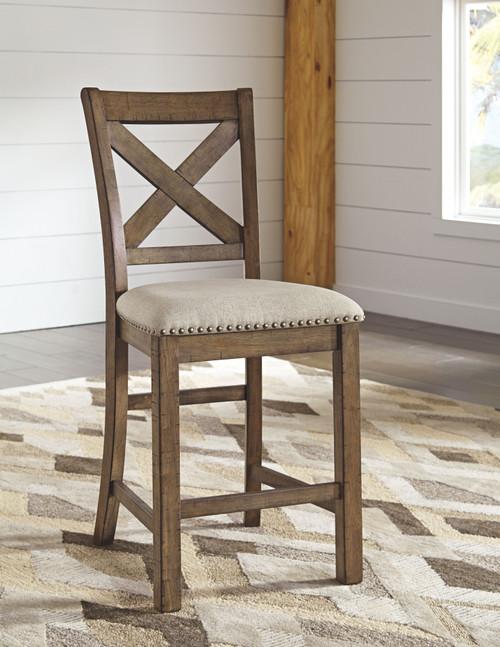 Moriville Beige Upholstered Barstool (Set of 2)