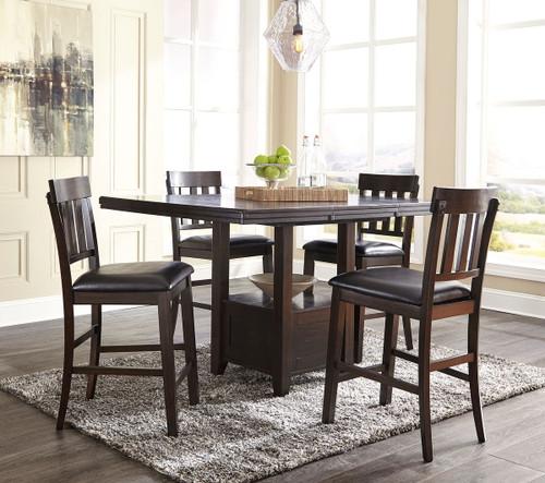 Haddigan Dark Brown 5 Pc. Rectangular Counter Extension Table & 4 Upholstered Barstools