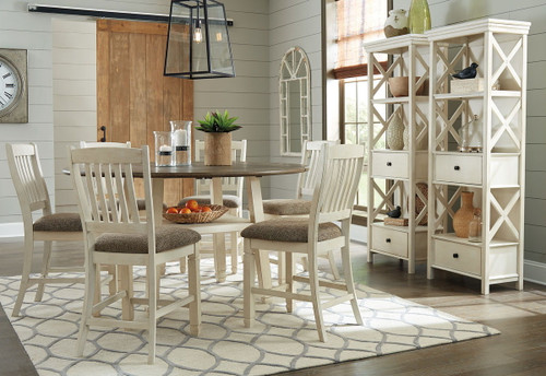 Bolanburg Two-tone 9 Pc. Round Drop Leaf Counter Table, 6 Upholstered Barstools & 2 Display Cabinets