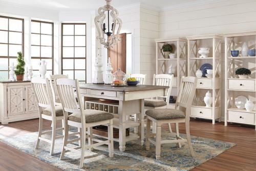 Bolanburg Antique White 11 Pc. Rectangular Counter Table, 6 Upholstered Barstools, Server & 3 Display Cabinets